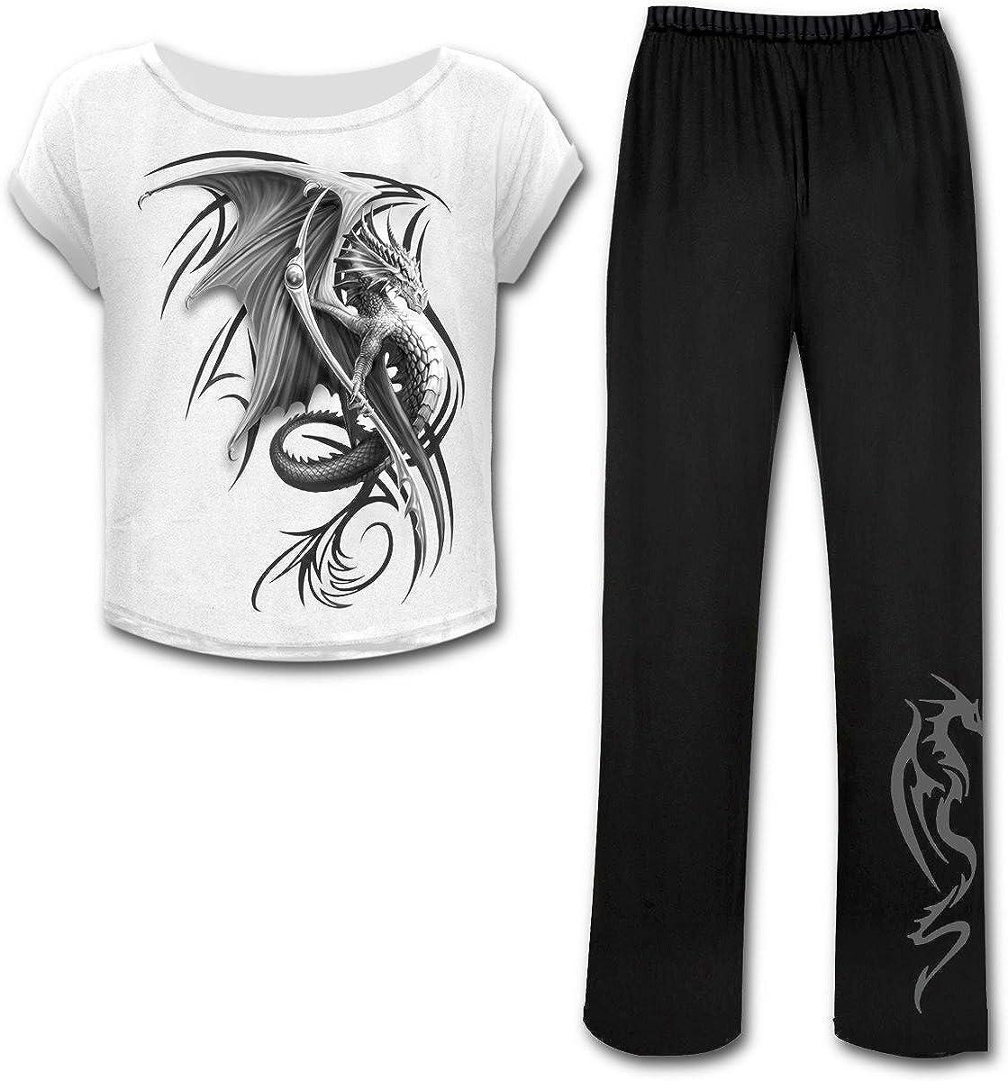 Indianapolis Mall Spiral - Luxury Wyvern 4pc Gothic XXL Pyjama Black Set