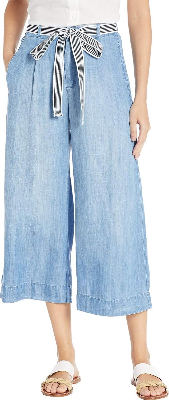 Bella Dahl Women's Stripe Trim Belt Crop Wide Leg Pants