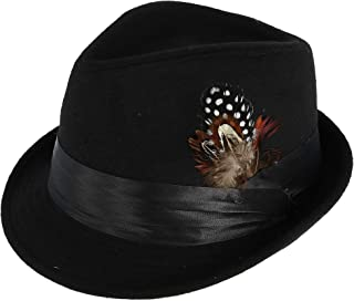 bf118eda Kenny K Men's Dressy Faux Felt Fedora with Removable Feather