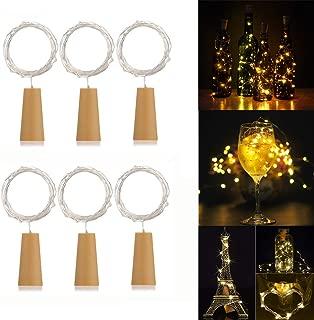 AlleTechPlus 6 Pack 20-LEDs Spark Wine Bottle Light, Cork Shape Battery Copper Wire String Lights for Bottle DIY, Christmas, Wedding and Party Décor (Warm White)
