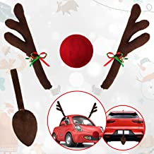 eletecpro Car Reindeer Antlers,Nose & Tail Set - Window Roof - Rudolph Reindeer Jingle Bell Set Christmas Costume Christma...