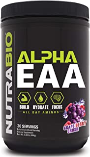 NutraBio Alpha EAA (Grape Berry Crush) – All-Day Recovery, Focus, and Hydration Supplement