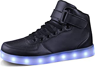 MILEADER LED Shoes High Top Sneakers 7 Colors USB Charging Sneakers Light Up Shoes for Girls Boys Toddles Kids with Remote...