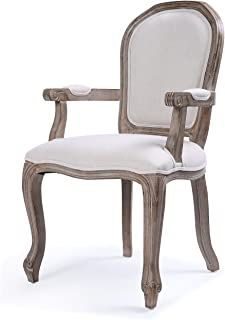 Belleze Classic Dining Room Chair Accent Elegant Linen Side High Back w/Padded Armrest Solid Wood Legs, Beige