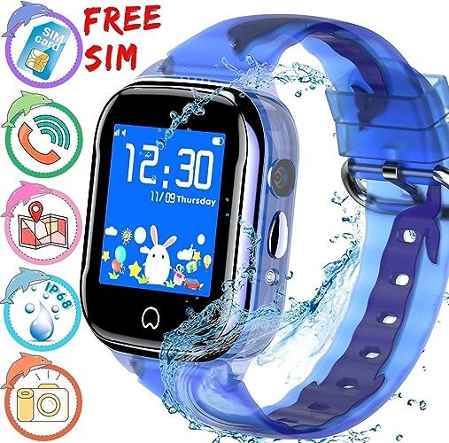 MDMMBB Téléphone intelligent de montre imperméable d'enfant avec le traqueur de GPS for la fille de Garçon, montre intelligente d'enfants avec l'écran tactile d'appareil-photo de podomètre SOS appelan