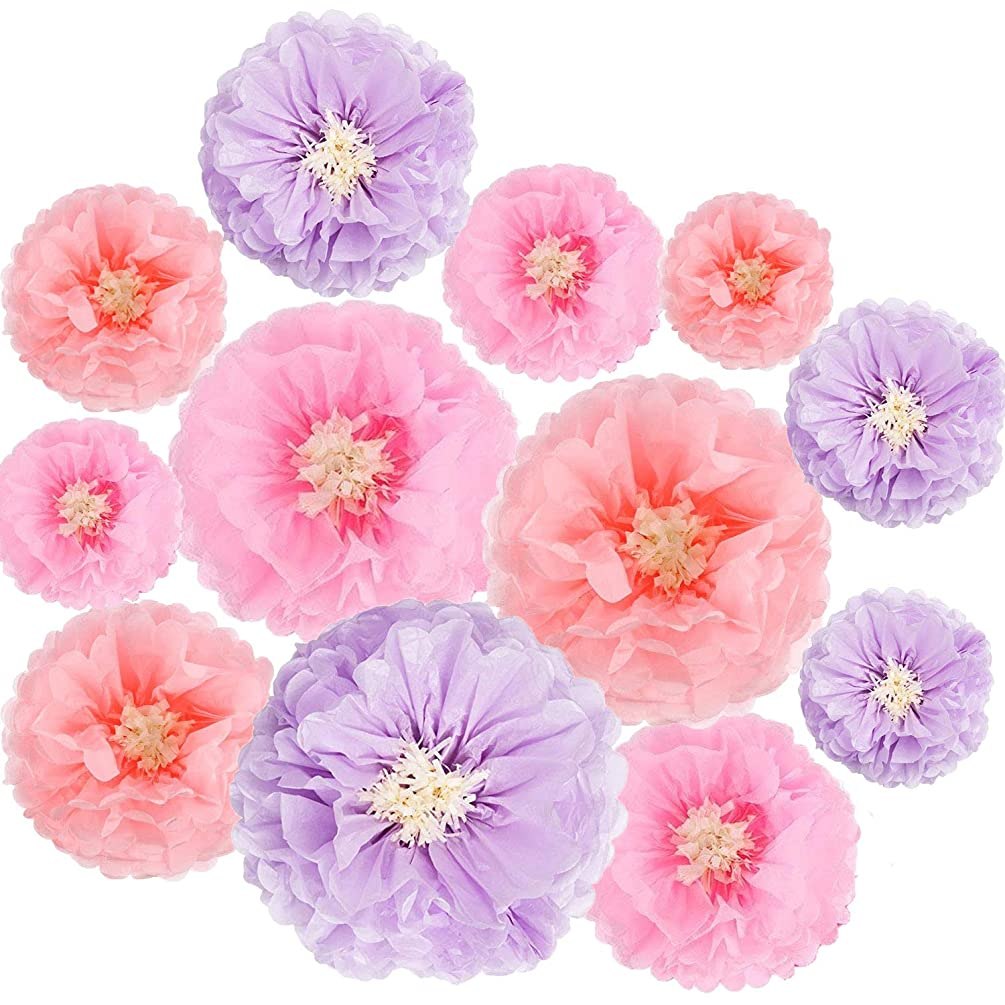 Tissue Paper Flowers Decorations for Baby Shower Birthday Party Wall Background Decoration, 12pcs Assorted Sizes,Purple