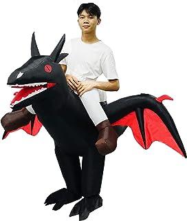 PARAYOYO Disfraz de dragón Inflable Traje de pterosaurio Adulto Vestido de Fiesta Elegante para Hombre Mujer Halloween Negro