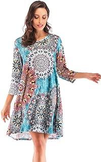 Women's 3/4 Sleeve Tunix Shirt Floral Print Dress with Pocket