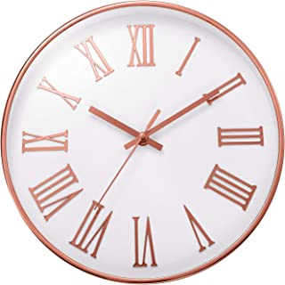 ufengke Elegant Rose Gold Wall Clock Simple Roman Numerals Quartz Clocks for Living Room Bedrooms Lounge 12