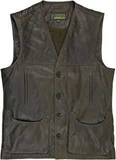 G010: Men's Green Leather Gilet/Shooting Vest