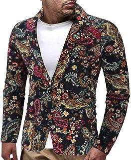 HaiDean Vintage Blazer for Men Floral Suit Mens Dress Modern Casual Lapel Slim Fit Stylish Blazer Dress Suit Coat