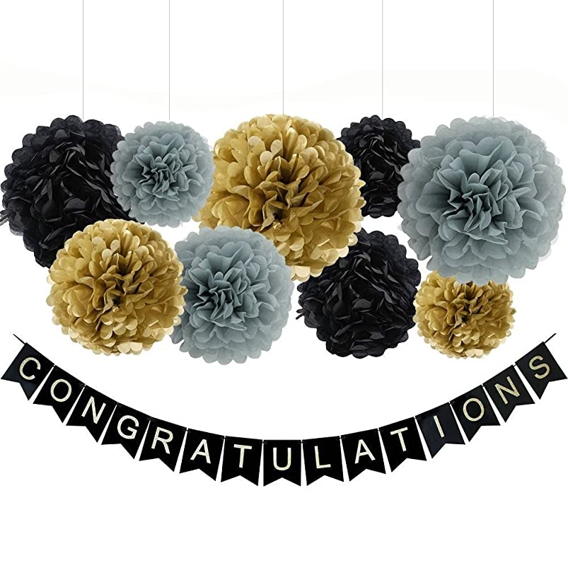 CONGRATULATIONS Banner Sign For Graduation Party Supplies Decoration Kit,With Tissue Paper Pom Poms(Black Gold Gray) gectpkno519221