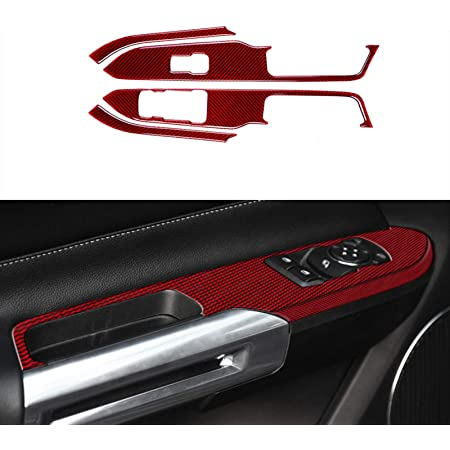 Present AC007 Red Carbon Fiber Headlight Switch Button Panel Frame Decal Cover Trim for Ford Mustang Sixth Generation 2015