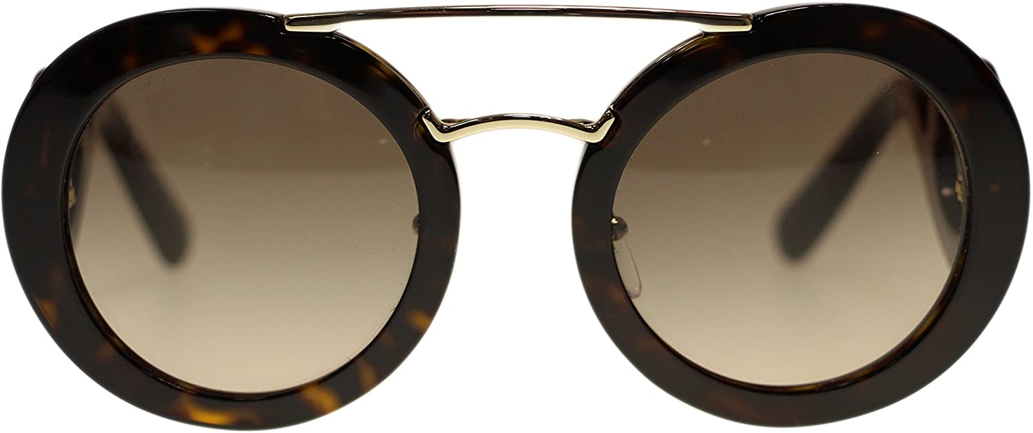 Prada Round Womens Sunglasses PR13SS 2AU3DO Havana Brown Gradient 54mm Authentic
