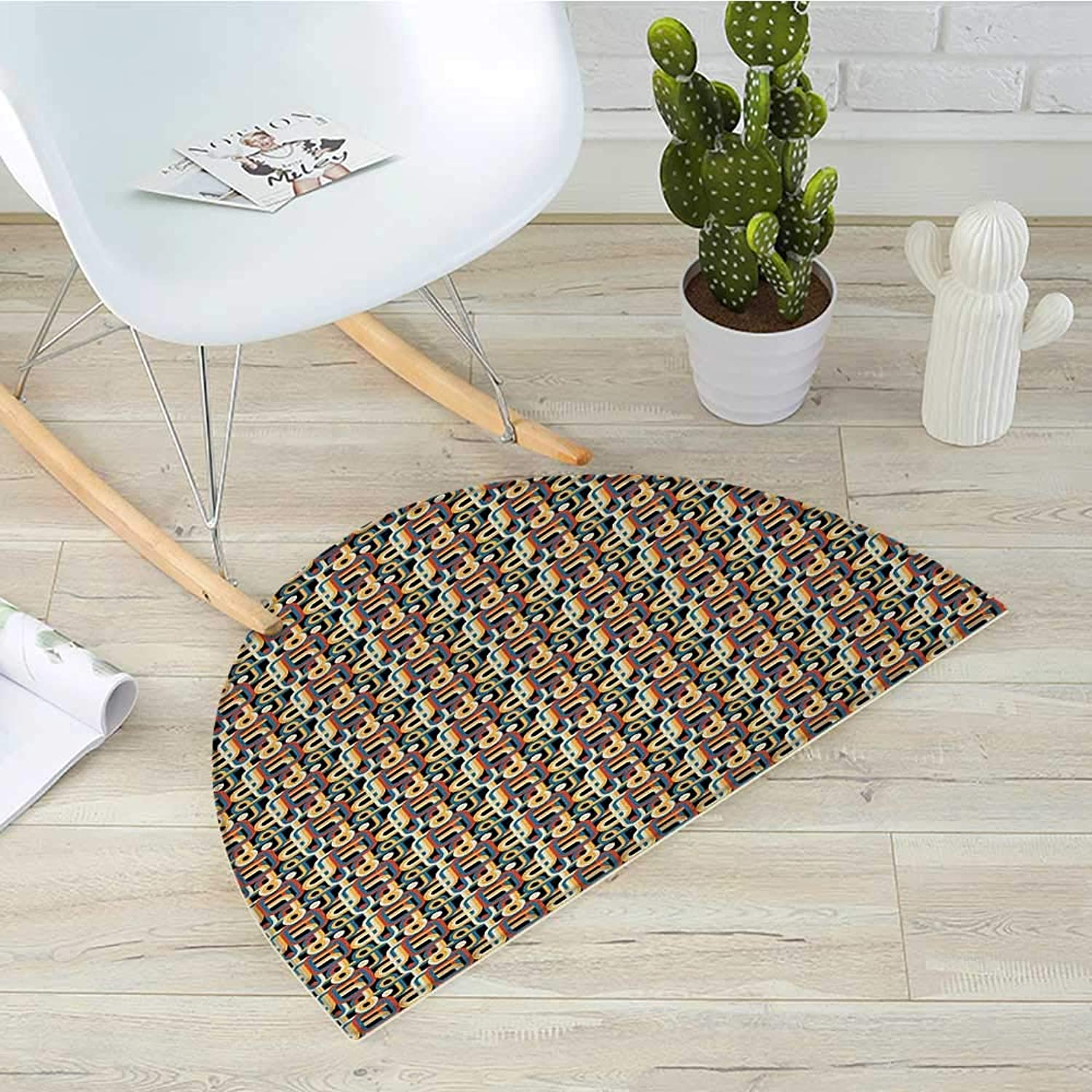 Retro Half Round Door mats Geometric colorful Stripes with Circles Abstract Vintage Ornate Curved Illustration Bathroom Mat H 39.3  xD 59  Multicolor