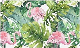 InterestPrint Watercolor Flamingo and Greenery Palm Tree Leave Doormat Non Slip Indoor/Outdoor Floor Door Mat Home Decor, ...