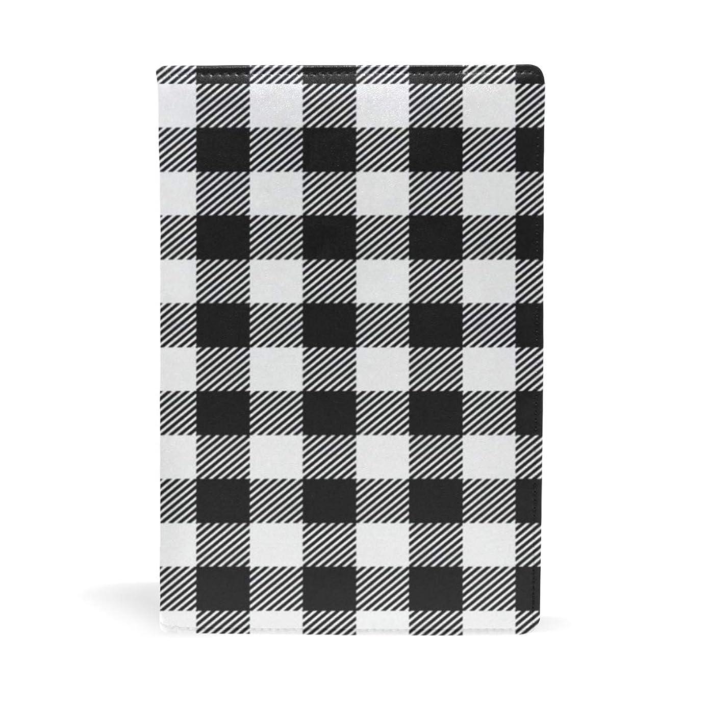 兄ライター抵抗ブックカバー 文庫 a5 皮革 レザー チェック柄 白黒格子縞 個性的 ブラック 文庫本カバー ファイル 資料 収納入れ オフィス用品 読書 雑貨 プレゼント