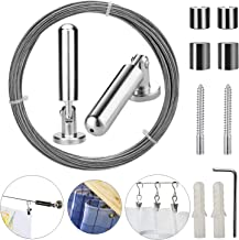 Pinowu Wall Mount Curtain Wire Rod Set for Art Display - Stainless Steel Photo Hanging Wire Clothesline Wire Window Curtain Tension Wire Multi-Purpose Crafts Organizer (5 Meter)