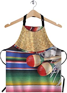WONDERTIFY Mexican Pattern Apron,Retro Straw Hats and Mallets on The Colorful Background Bib Apron with Adjustable Neck for Men Women,Suitable for Home Kitchen Cooking Waitress Chef Grill Apron