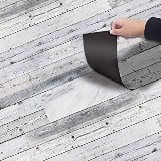 ChezMax Solid Color PVC Floor Stickers Waterproof Removable Shlef Decals Wallpaper for Home Decoration Gray Wood Grain 7.9