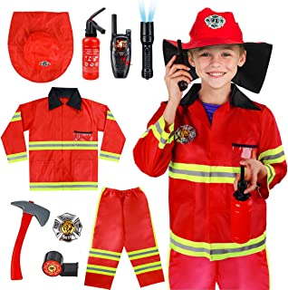 Kids Fireman Costume Role Play Set - Firefighter Dress-up and Fireman Toys Accessories for Toddlers,Birthday for 3 4 5 6 7 Year Old Boys Girls Halloween Costume Orange