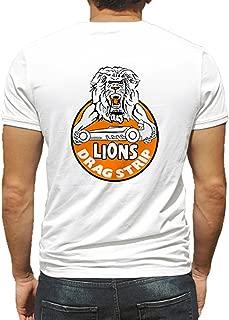 Lions Drag Strip Orange Lion's Arms Hot Rod Rat Nostalgia Drag Race Racing NHRA White Short Sleeve Shirt