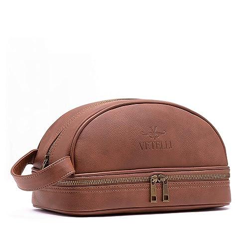 Vetelli Men's Leather Toilet/Toiletry Bag (Dopp Kit, Wash Bag) with Travel Bottles One Size Brown