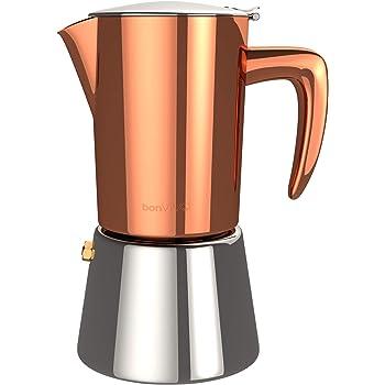 bonVIVO Intenca Cafetera Italiana Express De Inducción De Acero Inoxidable con Acabado Cobre, para Espresso con Mucho Cuerpo, Cafetera Moka Clásica,