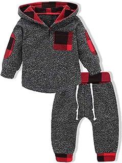 Conjunto de roupas para bebês meninos e meninas, blusa com bolso e capuz + calça xadrez, para outono ou inverno