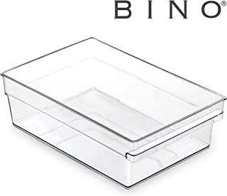 BINO Clear Plastic Storage Bin with Built-In Pull Out Handle - Shallow, Medium