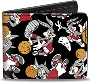 Buckle-Down PU Bifold Wallet - Bugs Bunny Basketball Poses Scattered Black