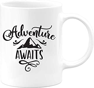 Adventure Awaits Coffee Mug For Outdoors Mountain Lover | Gift For Valentines Day Birthday Christmas Mountain Hiker Climber Camping Wanderlust | Camp Cup Tea Cocoa