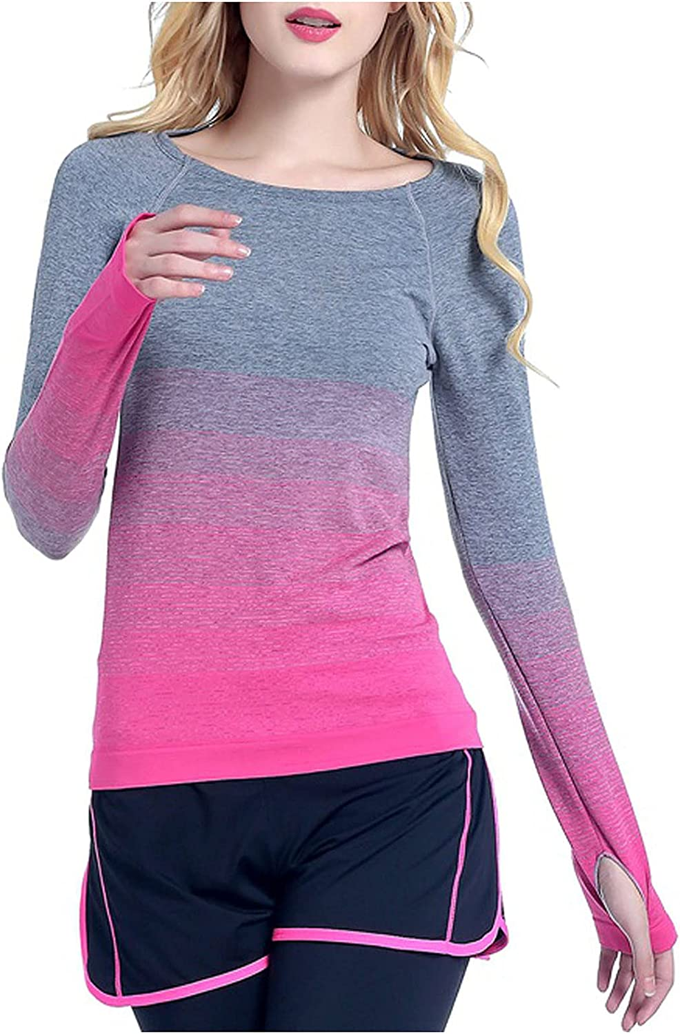 Women Gradient Print Sports Yoga Tops Crewneck Slim Comfy Long Sleeve Soft Fit Workout Pullover