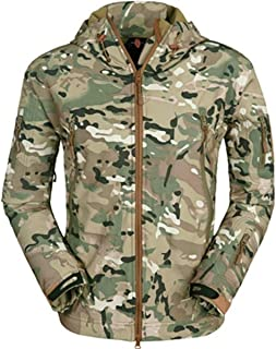 Eglemall Men's Outdoor Hunting Soft Shell Waterproof Tactical Fleece Lined Jackets