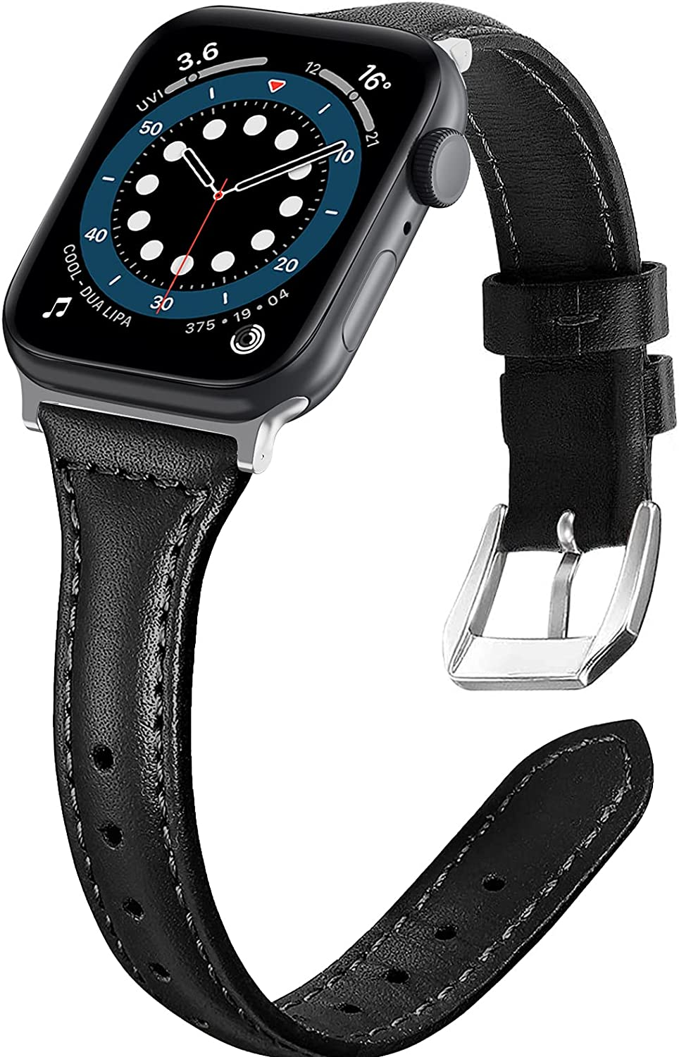 Liwin Leather Band Compatible with Apple Watch SE Series 6 Band 44mm 42mm 40mm 38mm, Genuine Slim Leather Replacement Wristbands Bracelet Classic Strap for iWatch SE 6/5/4/3/2/1(Black, 38/40mm)