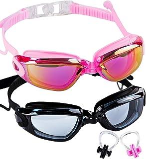SBORTI 2 Pack Adult Swimming Goggles,No Leaking,Anti Fog,UV Protection Swim Glasses Water Goggles