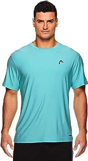 HEAD Men's Hypertek Crewneck Gym Tennis & Workout T-Shirt - Short Sleeve Activewear Top - Blue - Large