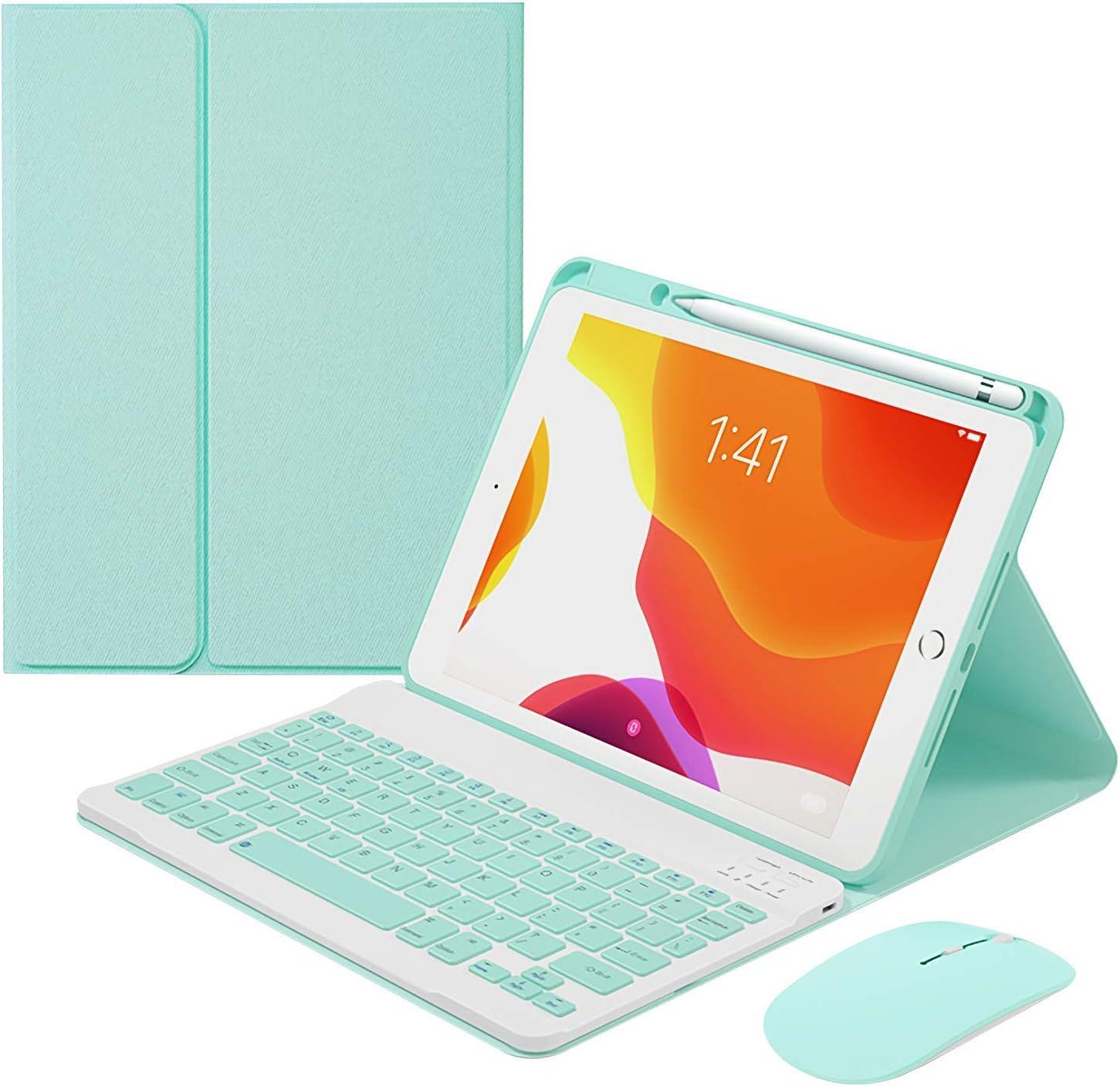 HaoHZ Funda Teclado para iPad 9.7 2017/2018, 7 Colores, Teclado Desmontable con Retroiluminación, Funda Inteligente Tipo Folio De Cuero Delgado con Ratón Bluetooth,Verde,7 Color Backlit