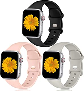 Easuny Sport Bands Compatible with Apple Watch 44mm 42mm 40mm 38m Women Men- Soft Sport Silicone Wristbands Strap Replacem...