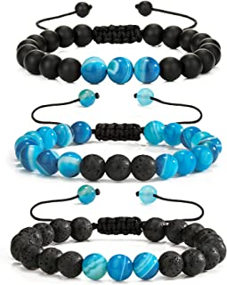 RURRBOOB Beaded Bracelet for Men Women Lava Rock Stone Anxiety Essential Oil Volcanic Adjustable Bracelets