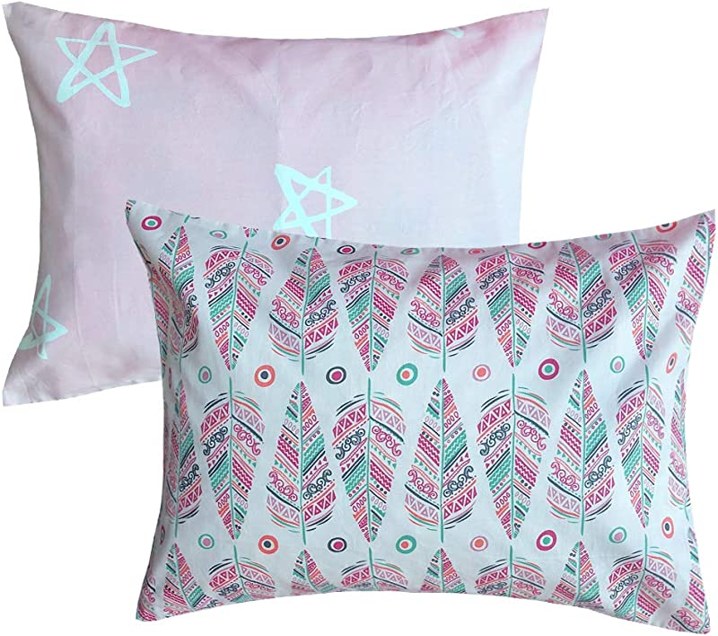 100 Organic Cotton Toddler Pillowcases Set Of 2 Soft And Breathable 13 X 18 Christmas Gift 2 Pink Leaf