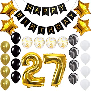 Happy 27th Birthday Banner Balloons Set for 27 Years Old Birthday Party Decoration Supplies Gold Black