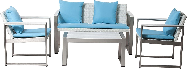 Pangea Home 1 2 Ct Chester Turquoise Genuine Free Shipping Sofa Set White Fabr Rattan Popular standard