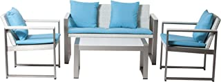 Pangea Home 1+2+CT Turq Chester Sofa Set, White Rattan/Turquoise Fabric