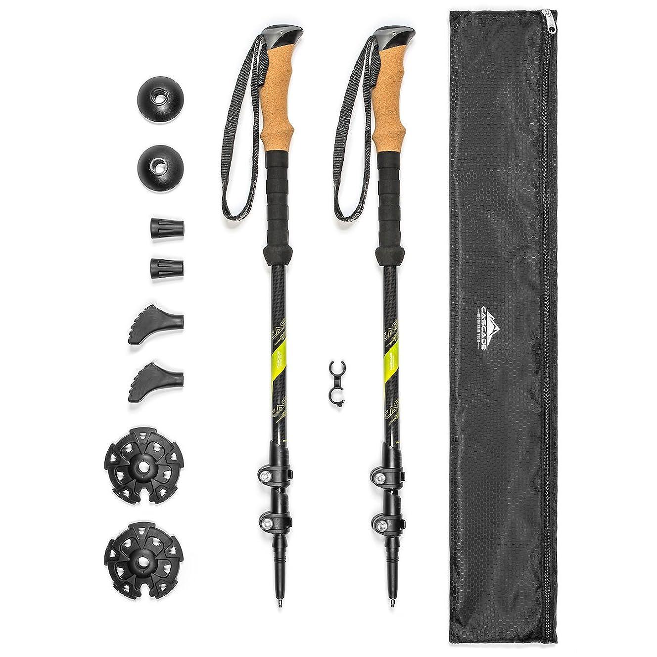 Cascade Mountain Tech Carbon Fiber Quick Lock Trekking Poles - Collapsible Walking or Hiking Stick