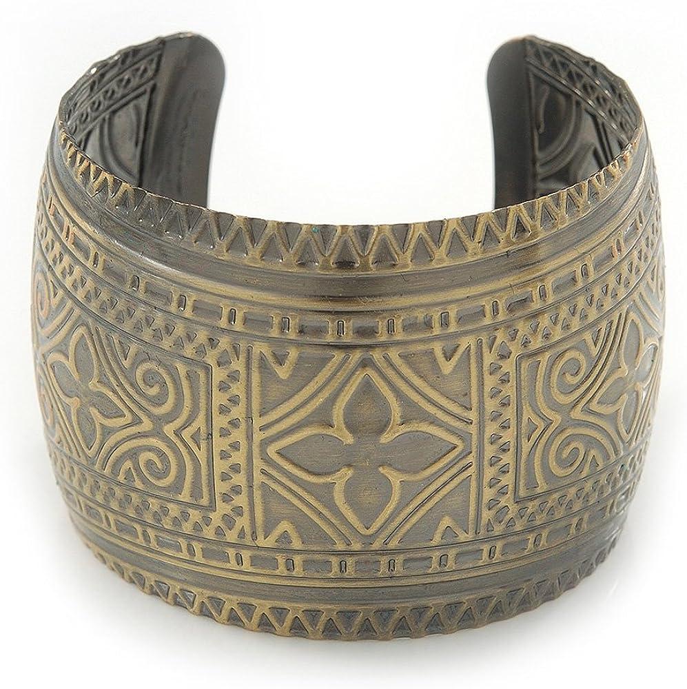 Avalaya Brushed Gun Metal 'Pilgrim' Silhouette Cuff Bracelet - up to 20cm Length