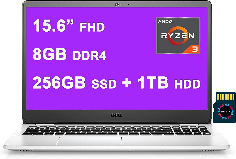 "Dell 2021 Inspiron 3000 3505 Premium 15 Laptop I 15.6"" FHD WVA Narrow Border I AMD Ryzen 3 3250U I 8GB DDR4 256GB SSD + 1TB HDD I AMD Radeon Graphics HDMI Win10 Snow White + Delca 32GB Micro SD Card"