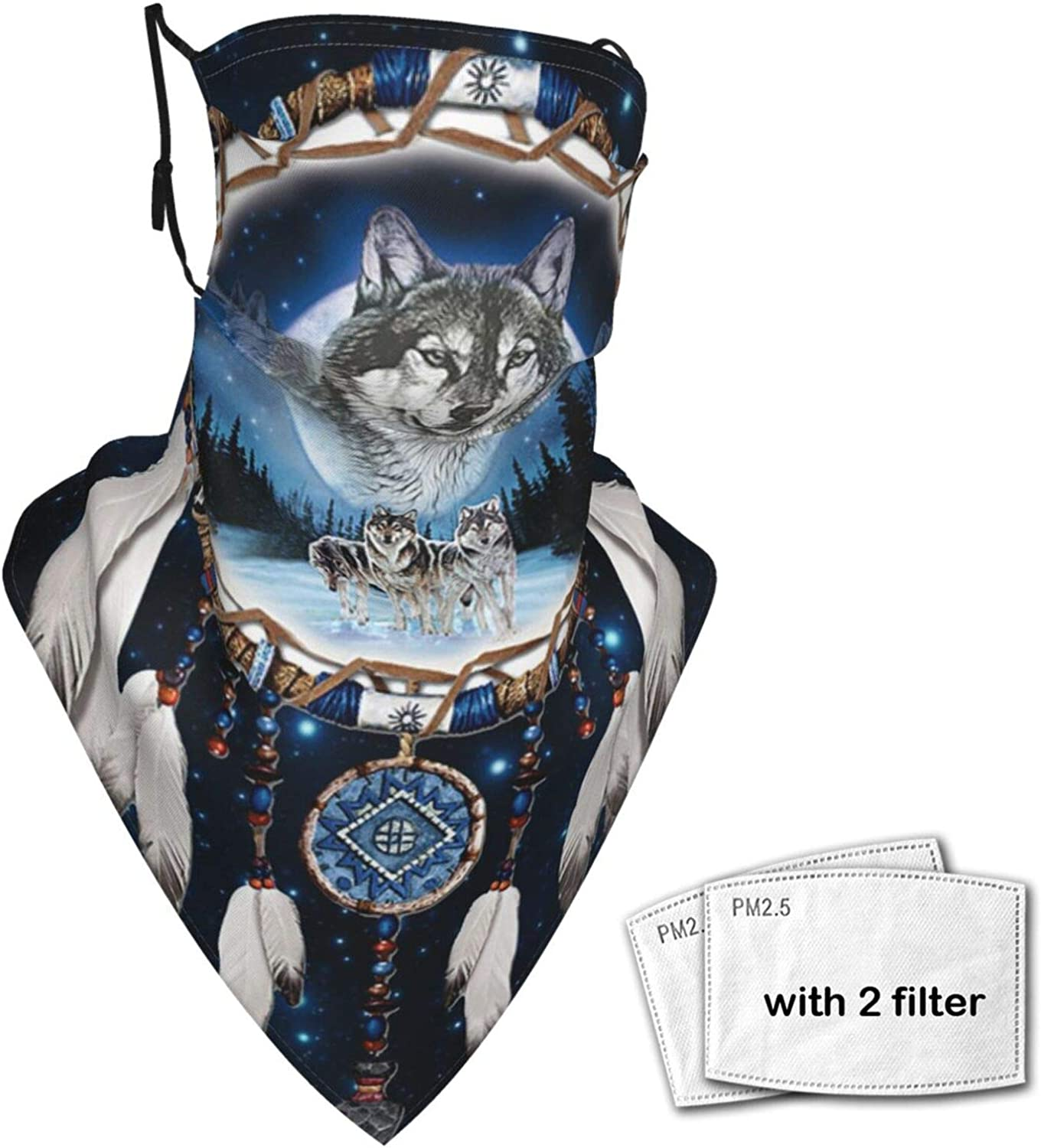 Triangle Scarf Balaclava Indian Dream Catcher Wolf Unisex Face Mask Sun Uv Protection Bandanas Neck Gaiter Scarf with Filter