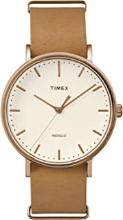 Timex Unisex TW2P91200 Fairfield 41 Brown Leather Slip-Thru Strap Watch