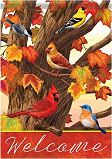Wamika Cardinal Blue Bird Maple Leaves Garden Flag 12 x 18 Double Sided, Songbird Gathering Welcome Fall Autumn House Yard...
